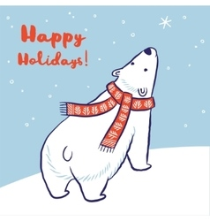 Christmas card of polar bear in red scarf and hat vector image vector image