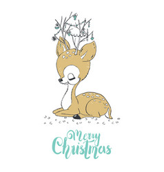 christmas of a cute little deer merry christmas vector image