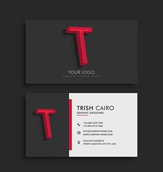 Clean dark business card with letter t vector