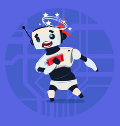 Cute robot dizzy error broken modern artificial vector