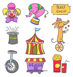 Doodle element circus funny design vector