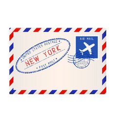 International air mail envelope from new york vector