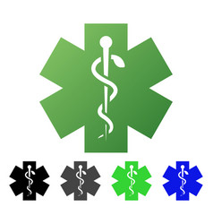 Medical life star flat gradient icon vector