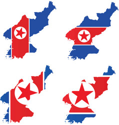 north korea map with flag inside vector image vector image