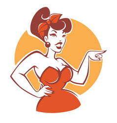 Plus size pinup girl in red dress on beige vector
