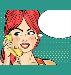 Pop art woman chatting on retro phone comic vector