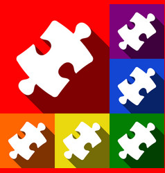Puzzle piece sign set of icons with flat vector