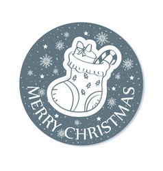 Round christmas greeting card grey vector