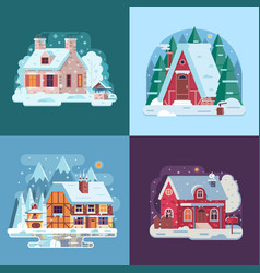 Rural winter houses and cabins landscapes vector