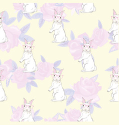 seamless pattern with cute rabbit baby girl vector image