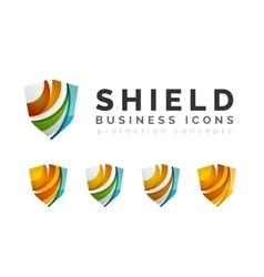 Set of protection shield logo concepts vector