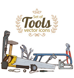 set of repair tools icons vector image