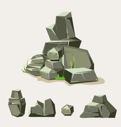 Set of rocks rock stone with grass cartoon vector