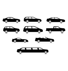 Silhouettes of different body car types vector