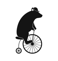 Simple bear on bike icon vector