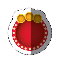 Sticker of red circular speech and yellow circles vector
