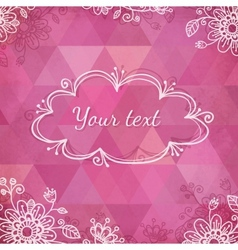 Textured pink triangles greeting card vector image