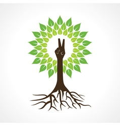 Victory hand make tree vector image vector image