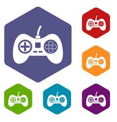 Video game console controller icons set hexagon vector