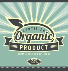 Vintage organic product poster design vector