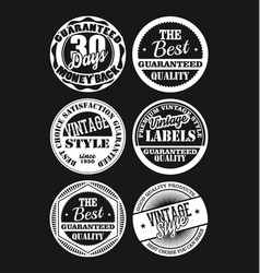 white and black vintage labels collection 2 vector image