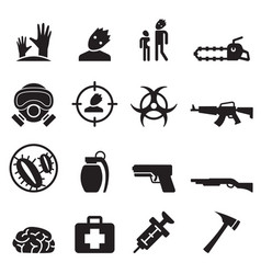 Zombie icons set vector