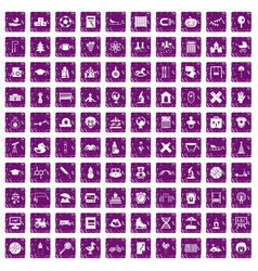 100 kids icons set grunge purple vector image vector image