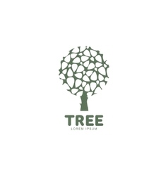 Stylized round shape graphic tree logo template vector image