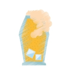 Drawing glass cup crystal drink foam vector