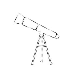 Telescope simple sign  black dotted icon vector