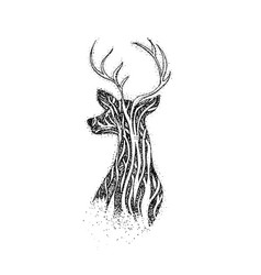 Dotwork tree reindeer vector