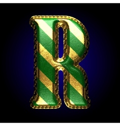 Golden and green letter r vector