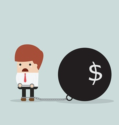 Businessman locked in a debt ball and chain debt vector
