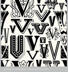 Seamless vintage pattern letter v vector