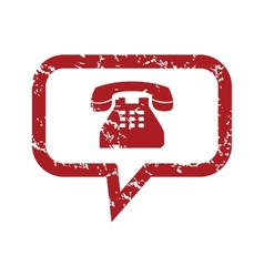 Red grunge telephone conversation logo vector