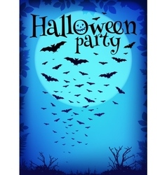 Blue halloween party background with flying bats vector