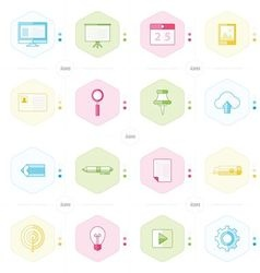 Office icon set blue green pink yellow color style vector