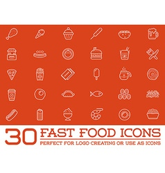 Set of fastfood fast food elements icons and vector