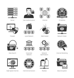 Network and internet black icons vector