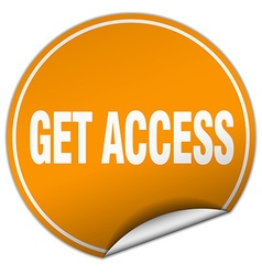 Get access round orange sticker isolated on white vector