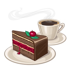Cake and cup of coffee vector