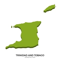 Isometric map of Trinidad and Tobago detailed vector image
