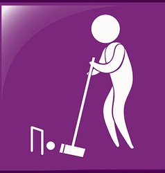 Sport icon for croquet on purple vector image