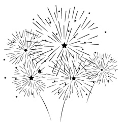 Silhouette of fireworks vector