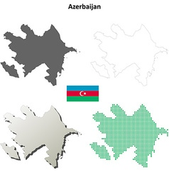 Azerbaijan outline map set vector image