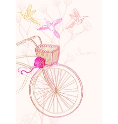 Background with bike and birds vector image vector image
