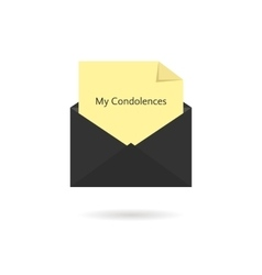 Black envelope with my condolences inscription on vector