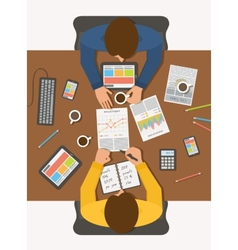 Business man at meeting top view workplace vector image