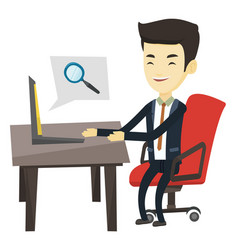 Business man searching information on internet vector
