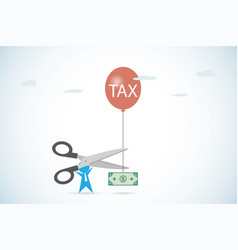 businessman holding scissors to cut tax vector image